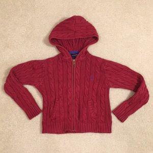 Ralph Lauren zip up hooded knit sweater